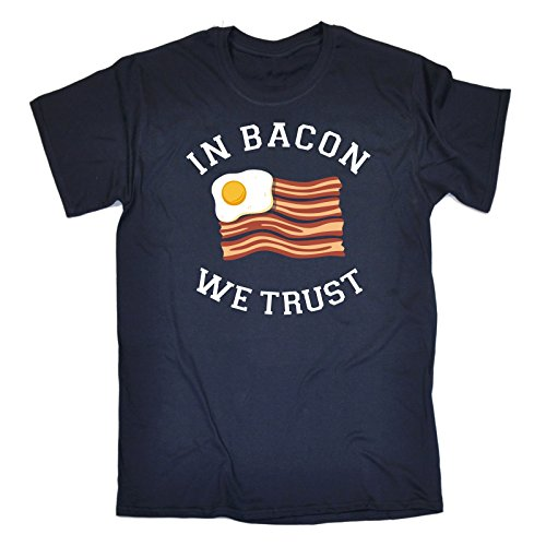 123t Slogans Men's IN BACON WE TRUST ... EGG & BACON FLAG (XL - NAVY) LOOSE FIT T-SHIRT