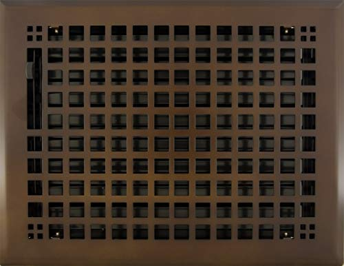 """8"""" x 10"""" (9.125"""" x 11.75"""" Overall) Oil-Rubbed Bronze Mission Register with Damper (HVAC Vent Cover)"""