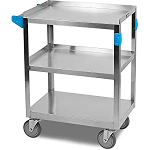Carlisle UC3031524 3 Shelf Stainless Steel Utility/Service Cart, 300 Pound Capacity, Small