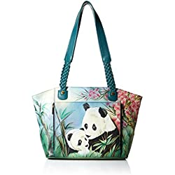 Anna by Anuschka Hand Painted Leather Women'S East West Organizer Tote, Lovable Panda