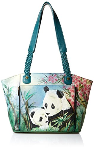 East West Organizer - Anna by Anuschka Hand Painted Leather Women's East WEST Organizer Tote, lovable panda