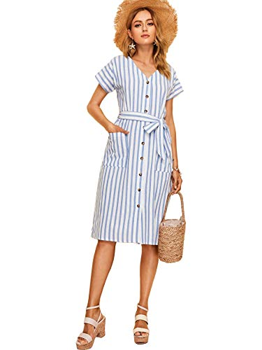 Milumia Women Striped Pocket Front Button Up V Neck Belted Dress