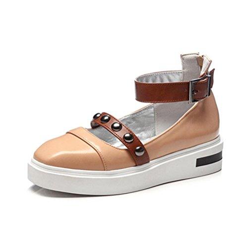 QPYC Zapatos de mujer solos a prueba de agua Taiwán gruesa inferior boca baja cinturón trasero cremallera hebilla ocio estudiante de gran tamaño Shose beige