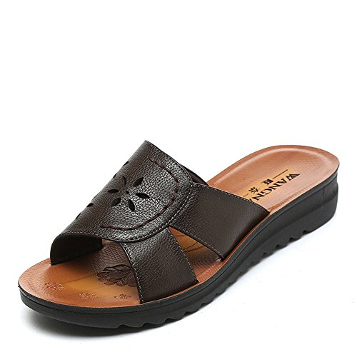 Summer Shoes, Leather, Soft Bottom and Cool Slippers Dark Brown