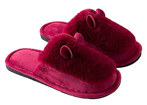 Plush Slippers Winter Red Fuzzy Indoor Slippers Cozy Women Slippers EwXXrUHgq