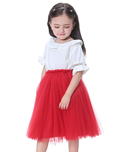 Flofallzique Tulle Tutu Skirts for 1-12 Years Old Girls Dancing Party Toddler Clothes(6, Red)