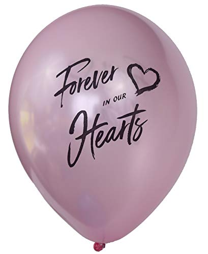(Forever in Our Hearts Memorial Balloons: 25-Pack Release Balloons Set| Biodegradable Helium Balloons for Memory Table Décor & Anniversary| Celebration Balloons (Pink)