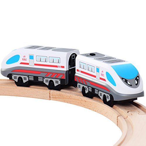 - ZONXIE Magnetic Battery Operated Action Train Powerful Engine Bullet Train Toys Car for Toddlers Compatible with Thomas Brio Tracks
