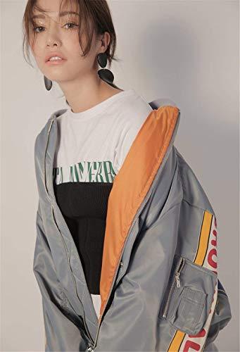 Lunghe Libero Maniche Grau College Pilot Fashion Donna Autunno Ragazze Con Cerniera Cappotto Digitale Giacca Ragazza Tempo Fidanzato Stampate Chic Bomber HxwFX
