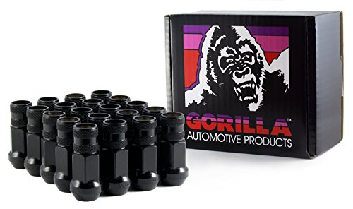 End Lug Nut - Gorilla Automotive 45038BC-20 Black 12mm x 1.50 Thread Size Forged Steel Chrome Finish Open End Lug Nut, (Pack of 20)