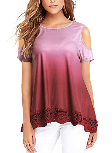 UUANG Womens Cold Shoulder Tops Short Sleeve Gradual Wine Red Lace Bottom Hem Blouse for Leggings - Lace Trim Maternity Blouse