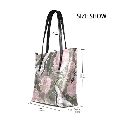 Shoulder PU Handle Watercolor Flowers Handbag Bags Birds Purses Peony Fashion TIZORAX Women's Leather Totes Floral Crane Top xOq0xB