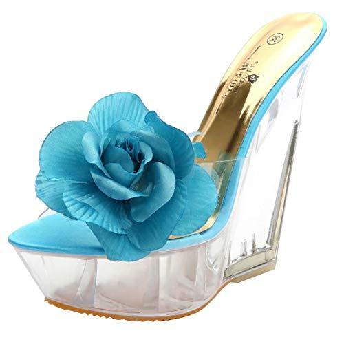 JYshoes Femme Femme Blau Femme Blumen Blumen Mules JYshoes JYshoes Blau Mules Mules 0HHdaxf