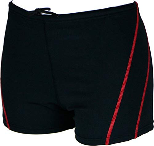 (Easyglide Square Leg Suit Mens Comfortable Swimsuit for Polyester Fabric Shape Retention,Quick Drying (Black&Red,)