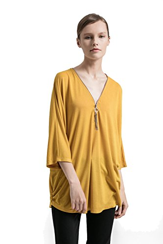 Women's Sexy Plunging V Neck Zipper Pullover 3/4 Sleeve Casual Loose Shirt Blouse Top (3/4 Sleeve Silk Tunic)