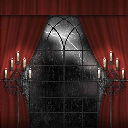 8 x 8 ft Halloween Backdrops Photography Vintage Candles Curtain Rainy Lightning out Window Night Photographic Backgrounds Photo Studio Shoot Picture Props -