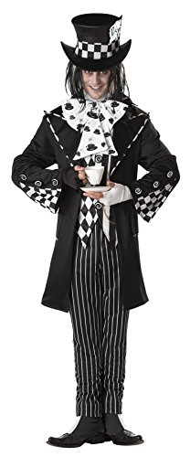 UHC Men's Storybook Alice In Wonderland Dark Mad Hatter Dress Halloween Costume, L (42-44) - Alice In Wonderland Cheap Costumes