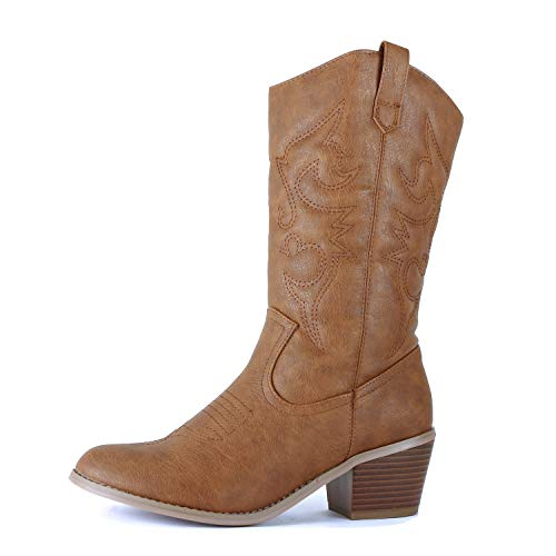West Blvd Miami Cowboy Western Boots,7.5 B(M) US,Tan Pu