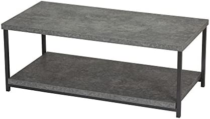 Household Essentials Coffee Table with Storage Shelf Faux Slate Concrete