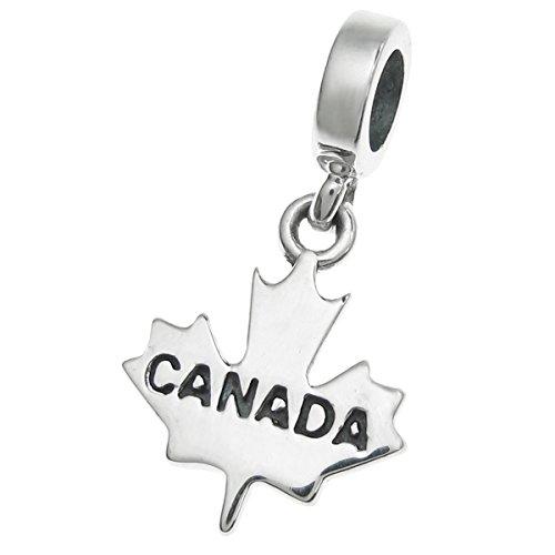 (Dreambell 925 Sterling Silver World Travel Tourist Bead for European Charm Bracelet (Canada Maple Leaf))