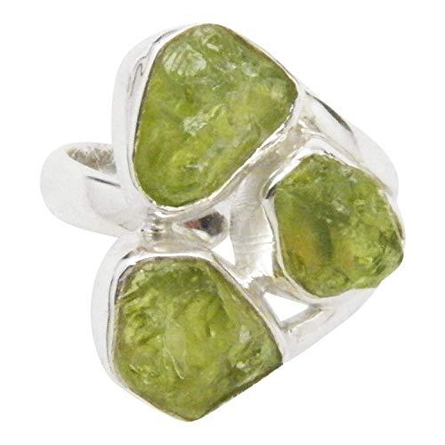 Fundamental Rockhound: Rough Triple Stone Peridot Gemstone Sterling Silver Ring