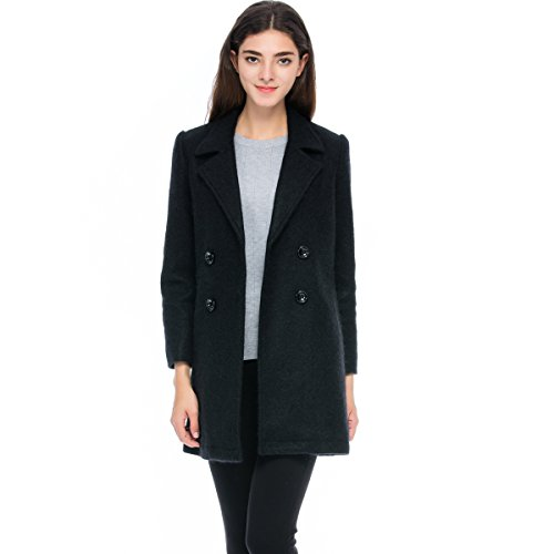 Lacle Women Winter Classic Long Warm Wool Coat (Black Medium)