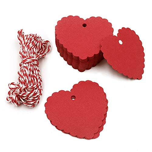 100PCS Kraft Paper Gift Tags/Hang Tags with Free Cotton Twine for Valentine Wedding Birthday Holiday Party Favors