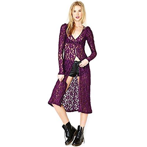 - Women Lace Crochet Bolero V-Neck Top Kimono Cardigan Puff Sleeve Plain Blouse (Purple S)