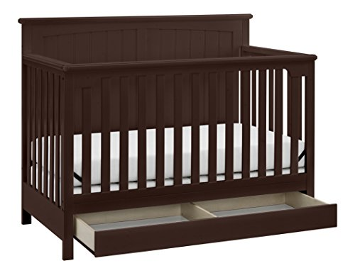 Storkcraft Davenport 5-in-1 Convertible Crib with Drawer Espresso, Fixed Side Crib, Solid Pine and Wood Product Construction, Converts to Toddler Bed Day Bed or Full Bed (Mattress Not Included) ()