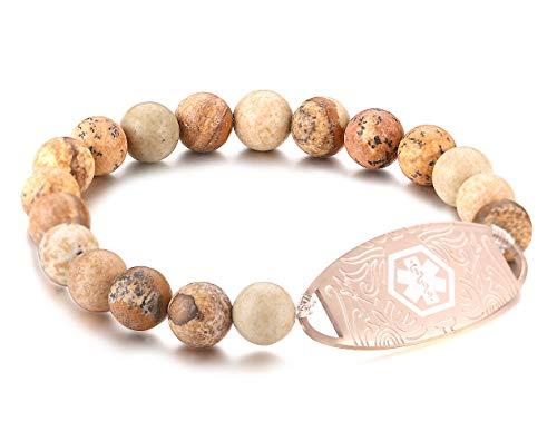 Beaded Medical Bracelet - JF.JEWELRY Custom Engraving Medical Alert ID Elastic Beaded Bracelet for Women