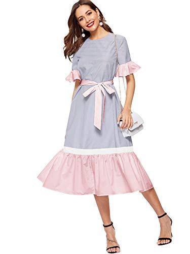 ROMWE Women's Striped Short Sleeve Ruffle Hem Colorblock Belted Long Dress Multicolor-2 Large