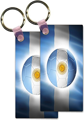 Rikki KnightTM Brazil World Cup 2014 Argentina Team Football Soccer Flag Design Rectangle Shape Key Chains - Luggage Identifier Tags (Set of 4)