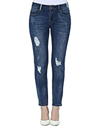 Lark Women's Ankle Antique Skinny with Contrast Patchwork and Destroyed and Repaired