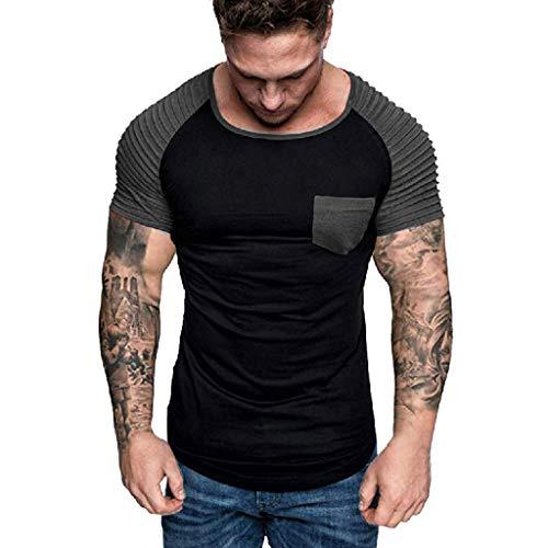 Camiseta de Manga Corta de Algod/ón Henley Casual de Verano de los Hombres Aptos Blusa Superior de Algod/ón Camiseta Manga Corta Hombre