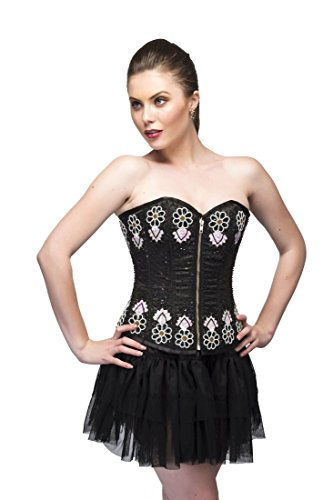 セクタ改善プライムBlack Satin Sequins Gothic Burlesque Waist Training Bustier Overbust Corset Top