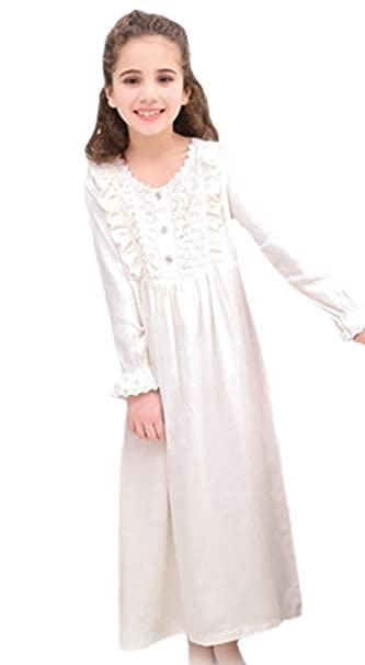 43c2da96b6 Wongstore White Cotton Princess Girls Sleepwear Nightdress Nightgown 100   2-3Y