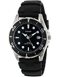 Pulsar Mens PXH227 Stainless Steel Watch with Black Rubber Band