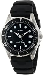 Pulsar Men's PXH227 Stainless Steel Watch with Black Rubber Band