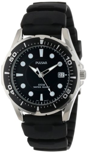 (Pulsar Men's PXH227 Stainless Steel Watch with Black Rubber Band)