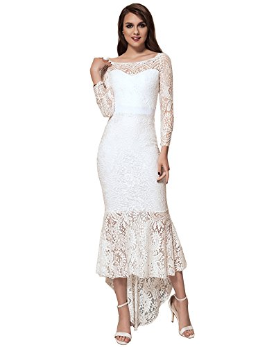 Dress White Long Lace comeondear Party Formal Women Shoulder Evening Sleeve Gowns Off 8PnHn7x