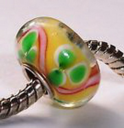 Glamorise Beads #13660 Yellow Green Clover Pink Single Core Murano Glass Bead for Silver Charm Bracelet