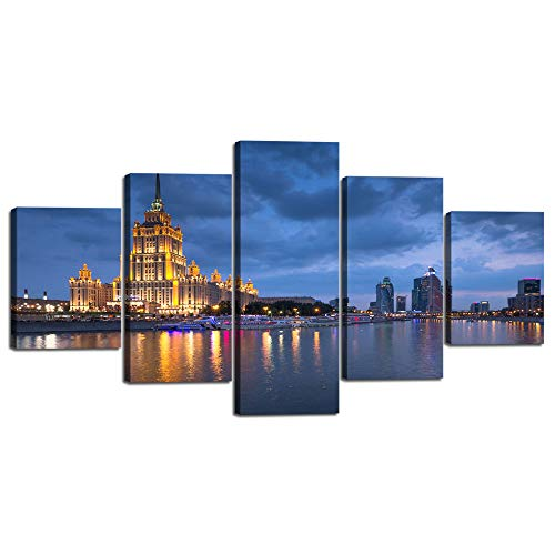 Wall Art Canvas Painting for Living Room 5 Panel View of World Trade Center and Ukraina Hotel in Moscow Russia at Dusk Print Poster Home Decor Artwork Stretched and Framed Ready to Hang (60