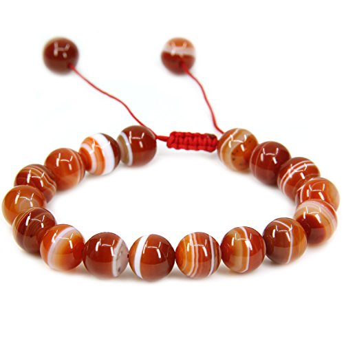 Natural A Grade Red Banded Agate Gemstone 10mm Round Beads Adjustable Braided Macrame Tassels Chakra Reiki Bracelets 7-9 inch Unisex