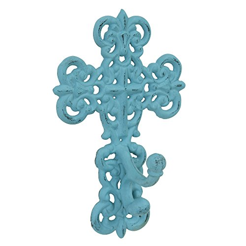Stonebriar Decorative Cast Iron Fleur De Lis Wall Cross with Wall Hook, Vintage Home Decor, Antique Wall Hook for Coats, Hats, Handbags, Keys, and More
