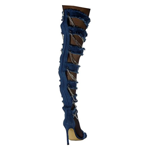 Stiletto Chains Denim Heel Blue Angkorly Open Boots Fashion Women's Thigh Boot Shoes Stiletto high Ripped 5 Frayed Jeans 11 cm wqzYwvS