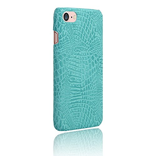 iPhone 8 Case, Leather Case, Flip Case, Crocodile Pattern Leather Case, Protective Case, Phone Case - Leather Back Cover Case (Aqua Crocodile Pattern)