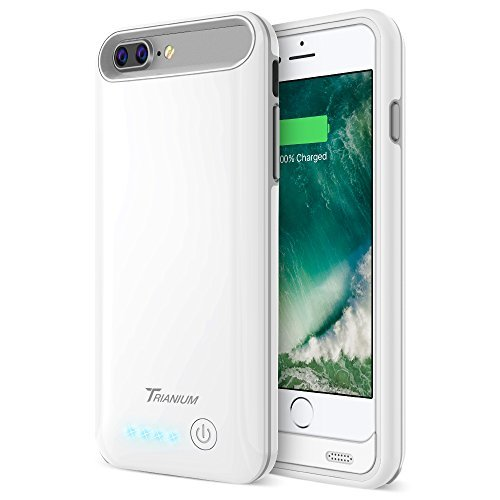 iPhone 7 Plus Battery Case, Trianium Atomic Pro iPhone Portable Charger iPhone 7 Plus 2016 Charging Case [White/Grey] 4200mAh Extended Battery Pack Power Cases Juice Bank [Apple Certified Part]