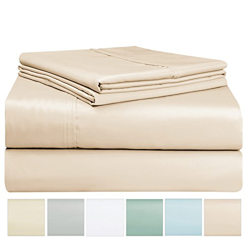 400 Thread Count Sheet Set, 100% Long Staple Cotton Beige Twin Sheets, Sateen Weave Bed Sheets fit upto 17 inch Deep Pockets, 3Pc Set by Pizuna Linens (Camel Twin 100% Cotton Sheet Set)