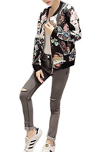 Corti Stampato Autunno Giubbotto Longsleeve Casuale Cerniera Cappotti Pattern Giovane Giacche Nero Inverno Fit Coreana Collo Moda Donna Eleganti Slim Giacca Parka pnZffq