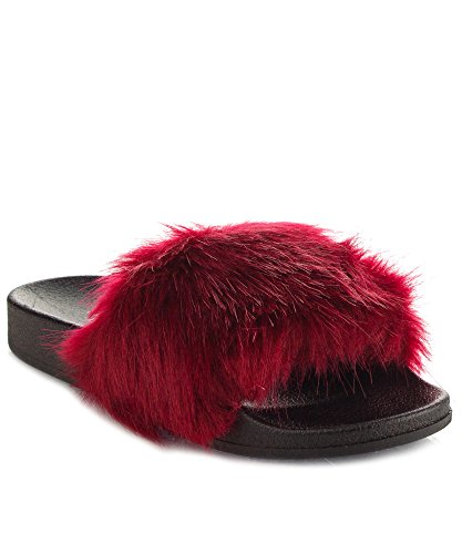 CAPE Womens ROBBIN Open Single Strap Wine Slip Toe Fur Faux On Sandals rrCdn1H